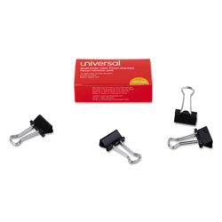Universal Office Products Binder Clips, Small, Black/Silver, Dozen