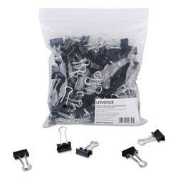 Universal Office Products Binder Clips in Zip-Seal Bag, Small, Black/Silver, 144/Pack