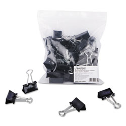 Universal Office Products Binder Clips in Zip-Seal Bag, Medium, Black/Silver, 36/Pack