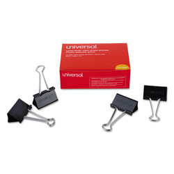 Universal Office Products Binder Clips, Large, Black/Silver, Dozen