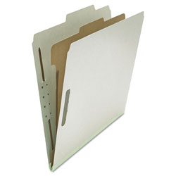 Universal Four-Section Pressboard Classification Folders, 1 Divider, Letter Size, Gray, 10/Box