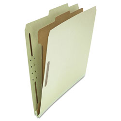 Universal Four-Section Pressboard Classification Folders, 1 Divider, Letter Size, Gray-Green, 10/Box