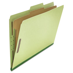 Universal Four-Section Pressboard Classification Folders, 1 Divider, Legal Size, Green, 10/Box