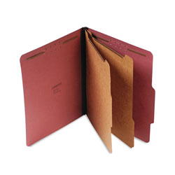 Universal Office Products Six--Section Pressboard Classification Folders, 2 Dividers, Letter Size, Red, 10/Box