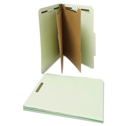 Universal Office Products Six--Section Pressboard Classification Folders, 2 Dividers, Letter Size, Gray-Green, 10/Box