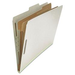 Universal Six--Section Pressboard Classification Folders, 2 Dividers, Legal Size, Gray, 10/Box