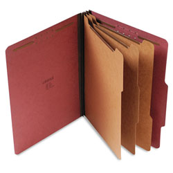 Universal Office Products Eight-Section Pressboard Classification Folders, 3 Dividers, Letter Size, Red, 10/Box