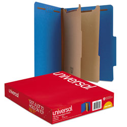Universal Office Products Bright Colored Pressboard Classification Folders, 2 Dividers, Letter Size, Cobalt Blue Cover, 10/Box