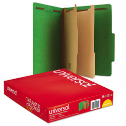 Universal Office Products Bright Colored Pressboard Classification Folders, 2 Dividers, Letter Size, Emerald Green, 10/Box