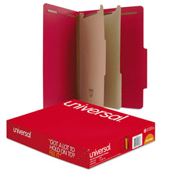 Universal Office Products Bright Colored Pressboard Classification Folders, 2 Dividers, Letter Size, Ruby Red, 10/Box