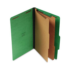 Universal Office Products Bright Colored Pressboard Classification Folders, 2 Dividers, Legal Size, Emerald Green, 10/Box