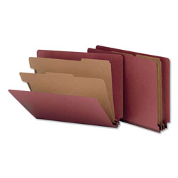 Universal Office Products Red Pressboard End Tab Classification Folders, 2 Dividers, Letter Size, Red, 10/Box