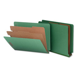Universal Office Products Deluxe Six-Section Colored Pressboard End Tab Classification Folders, 2 Dividers, Letter Size, Green, 10/Box