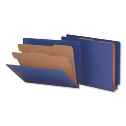 Universal Office Products Deluxe Six-Section Colored Pressboard End Tab Classification Folders, 2 Dividers, Letter Size, Cobalt Blue Cover, 10/Box