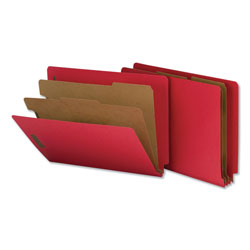 Universal Office Products Deluxe Six-Section Colored Pressboard End Tab Classification Folders, 2 Dividers, Letter Size, Bright Red, 10/Box