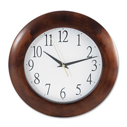 Universal Round Wood Wall Clock, 12.75 in Overall Diameter, Cherry Case, 1 AA (sold separately)