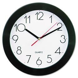 Universal Bold Round Wall Clock, 9.75 in Overall Diameter, Black Case, 1 AA (sold separately)