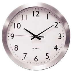 Universal Office Products Brushed Aluminum Wall Clock, 12 in Overall Diameter, Silver Case, 1 AA (sold separately)