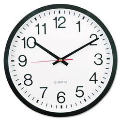 Universal Office Products Classic Round Wall Clock, 12.63 in Overall Diameter, Black Case, 1 AA (sold separately)