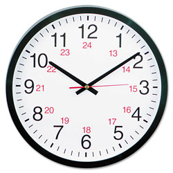 Universal 24-Hour Round Wall Clock, 12.63 in Overall Diameter, Black Case, 1 AA (sold separately)