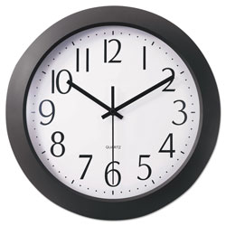 Universal Office Products Whisper Quiet Clock, 12 in Overall Diameter, Black Case, 1 AA (sold separately)