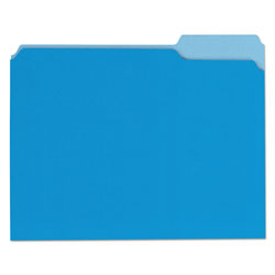 Universal Office Products Deluxe Colored Top Tab File Folders, 1/3-Cut Tabs, Letter Size, Blue/Light Blue, 100/Box