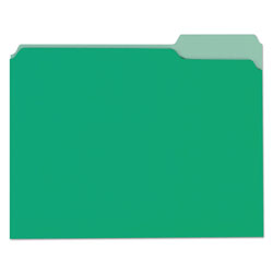 Universal Office Products Deluxe Colored Top Tab File Folders, 1/3-Cut Tabs, Letter Size, Green/Light Green, 100/Box
