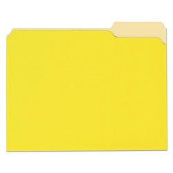 Universal Office Products Deluxe Colored Top Tab File Folders, 1/3-Cut Tabs, Letter Size, Yellowith Light Yellow, 100/Box