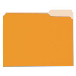 Universal Office Products Deluxe Colored Top Tab File Folders, 1/3-Cut Tabs, Letter Size, Orange/Light Orange, 100/Box