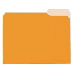 Universal Deluxe Colored Top Tab File Folders, 1/3-Cut Tabs, Letter Size, Orange/Light Orange, 100/Box