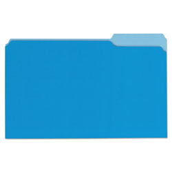 Universal Deluxe Colored Top Tab File Folders, 1/3-Cut Tabs, Legal Size, Blue/Light Blue, 100/Box
