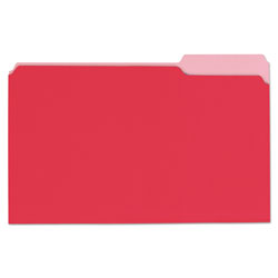 Universal Deluxe Colored Top Tab File Folders, 1/3-Cut Tabs, Legal Size, Red/Light Red, 100/Box