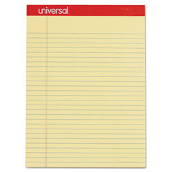 Universal Perforated Writing Pads, Wide/Legal Rule, 8.5 x 11.75, Canary, 50 Sheets, Dozen