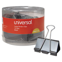 Universal Office Products Binder Clips in Dispenser Tub, Large, Black/Silver, 12/Pack