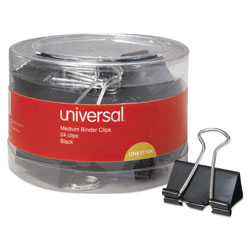 Universal Office Products Binder Clips in Dispenser Tub, Medium, Black/Silver, 24/Pack