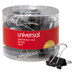 Universal Office Products Binder Clips in Dispenser Tub, Small, Black/Silver, 40/Pack