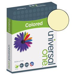 Universal Deluxe Colored Paper, 20lb, 8.5 x 11, Canary, 500/Ream