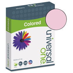 Universal Deluxe Colored Paper, 20lb, 8.5 x 11, Pink, 500/Ream