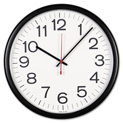 Universal Indoor/Outdoor Round Wall Clock, 13.5 in Overall Diameter, Black Case, 1 AA (sold separately)