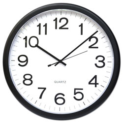Universal Office Products Round Wall Clock, 13.5 in Overall Diameter, Black Case, 1 AA (sold separately)