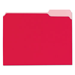 Universal Office Products Interior File Folders, 1/3-Cut Tabs, Letter Size, Red, 100/Box
