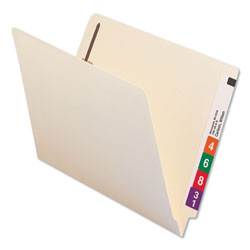 Universal Office Products Reinforced End Tab File Folders with Two Fasteners, Straight Tab, Letter Size, Manila, 50/Box