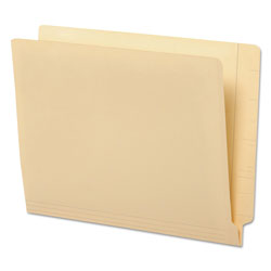 Universal Office Products Deluxe Reinforced End Tab Folders, 9 in Front, Straight Tab, Letter Size, Manila, 100/Box