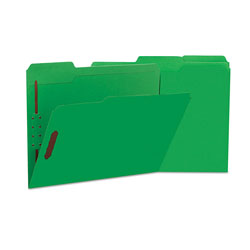 Universal Deluxe Reinforced Top Tab Folders with Two Fasteners, 1/3-Cut Tabs, Letter Size, Green, 50/Box