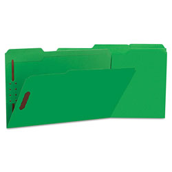 Universal Deluxe Reinforced Top Tab Folders with Two Fasteners, 1/3-Cut Tabs, Legal Size, Green, 50/Box