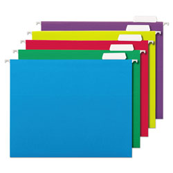 Universal Office Products Deluxe Bright Color Hanging File Folders, Letter Size, 1/5-Cut Tab, Assorted, 25/Box