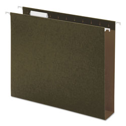 Universal Office Products Box Bottom Hanging File Folders, Letter Size, 1/5-Cut Tab, Standard Green, 25/Box