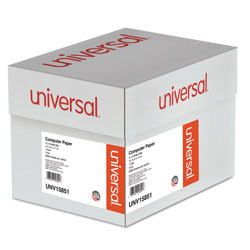 Universal Office Products Printout Paper, 1-Part, 18lb, 14.88 x 11, White/Green Bar, 2, 600/Carton