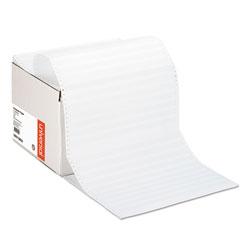 Universal Office Products Printout Paper, 1-Part, 20lb, 14.88 x 11, White/Green Bar, 2, 400/Carton