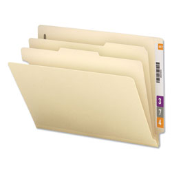 Universal Office Products Six-Section Manila End Tab Classification Folders, 2 Dividers, Letter Size, Manila, 10/Box